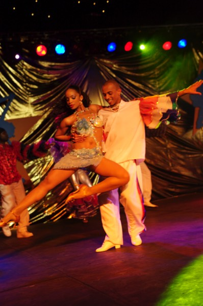 Two rumba dancers in a characteristic pose to our live salsa band